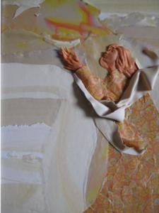 "Release Polymer Clay Relief Sculpture (C) Sara Joseph 11x14"""