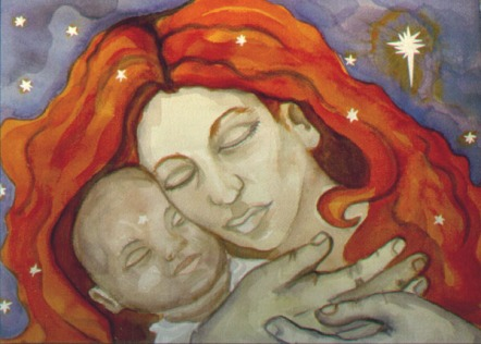 Nativity by Dawn Eggenberger watercolor on paper, 2000 11.75x15.5 inches